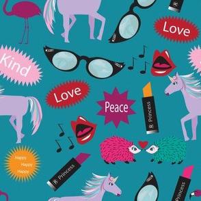Wacky Peace Love, Teal, Hedgehog, Flamingo, Unicorn, Zany, Wacky Lipstick