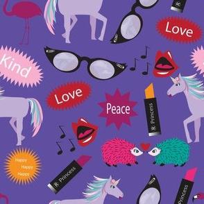 Unicorn - Wacky Peace Love, Purple, Peacock, Wacky, Zany, Lipstick Hedgehog, Flamingo, Unicorn