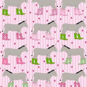 Jack and Jenny Rain Donkeys Pink Green