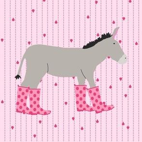 Jack and Jenny  Donkeys Fat Quarter Pink