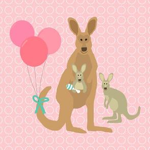 Kangaroo Baby Fat Quarter Pink Teal
