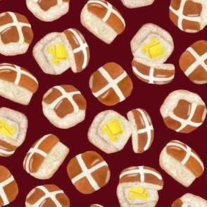 Hot Cross Buns - Deep Red
