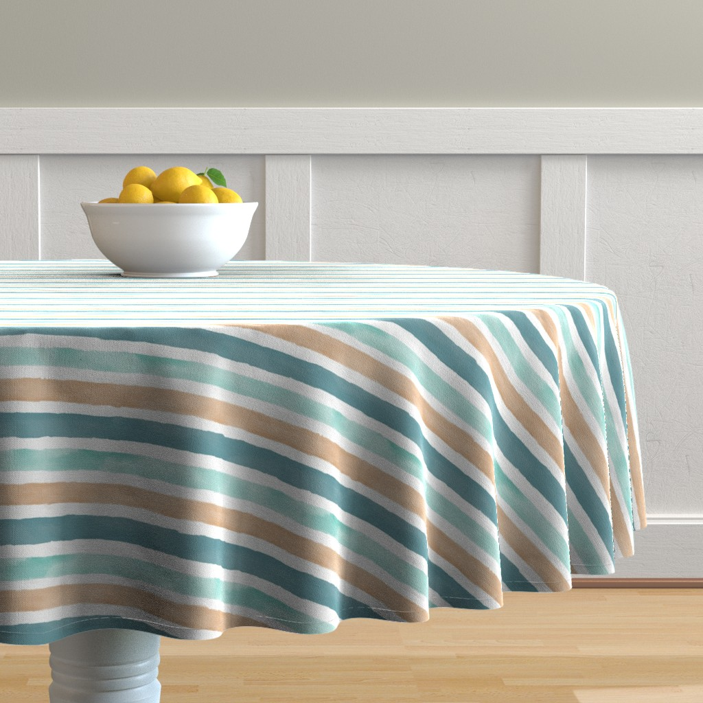 Malay Round Tablecloth featuring Large Watercolor Stripe by taylor_bates_creative
