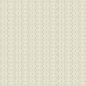 Vintage Light Blue and Cream Lace Fabric