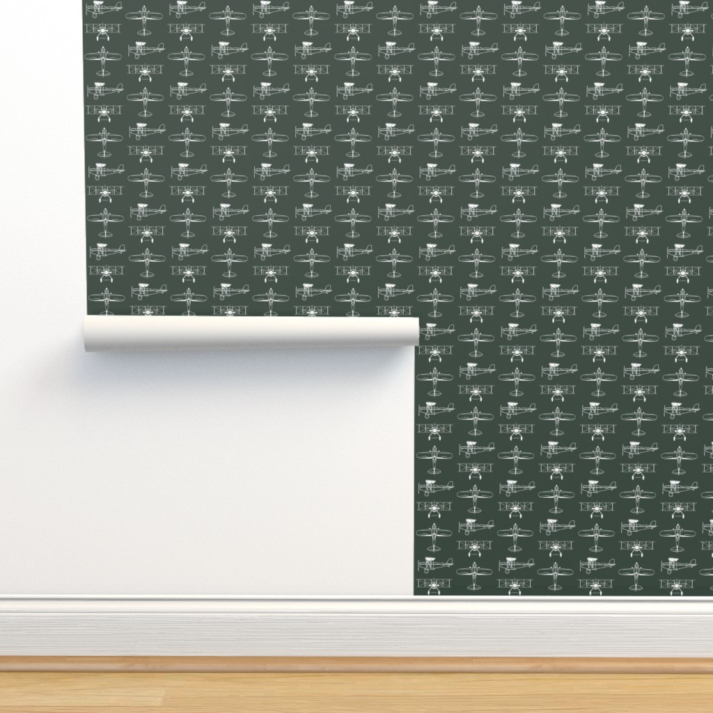 Isobar Durable Wallpaper featuring Biplanes on Timber Green // Small by thinlinetextiles