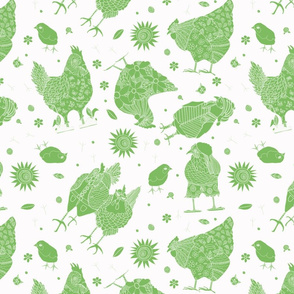 Whimsy Green Chickens