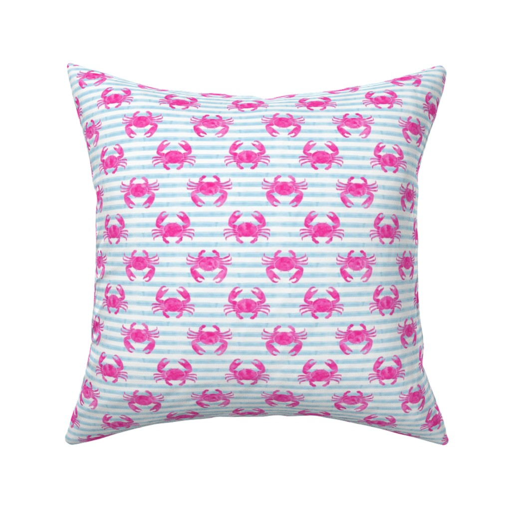 Catalan Throw Pillow featuring crabs - pink on blue stripes by littlearrowdesign