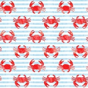 crabs - red on blue stripes - nautical summer fabric watercolor