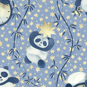 Sleeping Panda, Moon and Stars / Light Blue