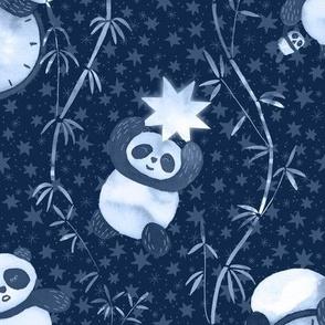 Sleeping Panda, Moon and Stars / Midnight Blue