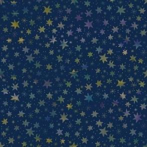 Watercolor Stars on Midnight Blue