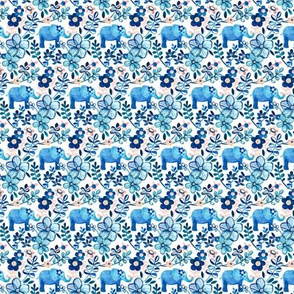 Tiny Blue Elephant Watercolor Floral on White