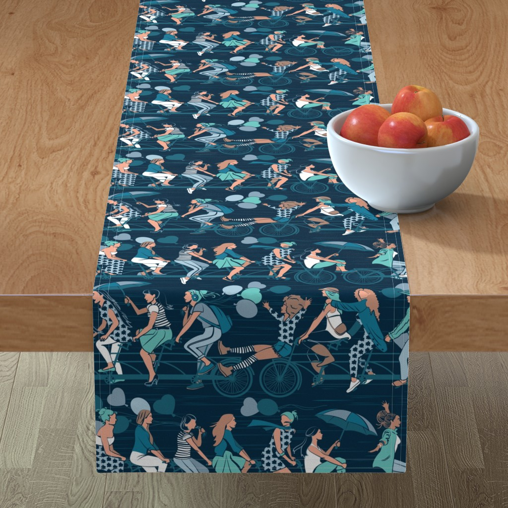 Minorca Table Runner featuring Sisterly riding the world together // normal scale // teal details version by selmacardoso