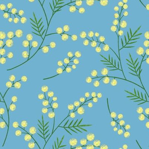 Embroidered mimosa sprigs