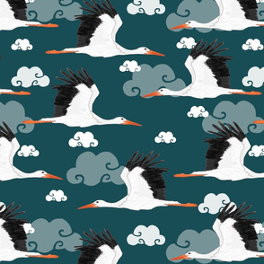 Stork Pattern Dark Blue