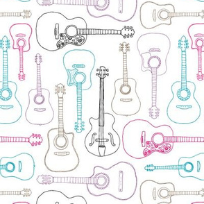 Rock music instrument guitar pattern pink purple girls