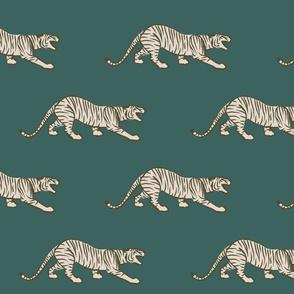 Stalking Tiger on deep green