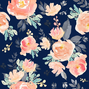 """21"""" Coral Grey and Mint Florals Navy Background"""