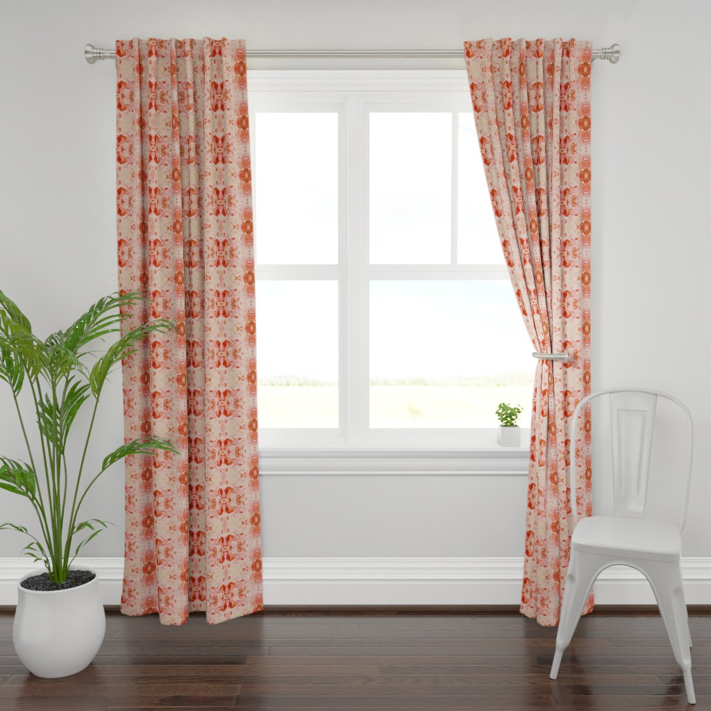 Plymouth Curtain Panel featuring Marble Texture Stone Swirl Light Pink, Pink, Peach, Coral, Salmon by furbuddy