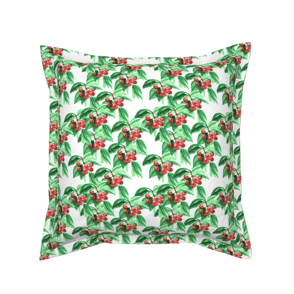 Serama Throw Pillow featuring Cherry Branches by lalaliz