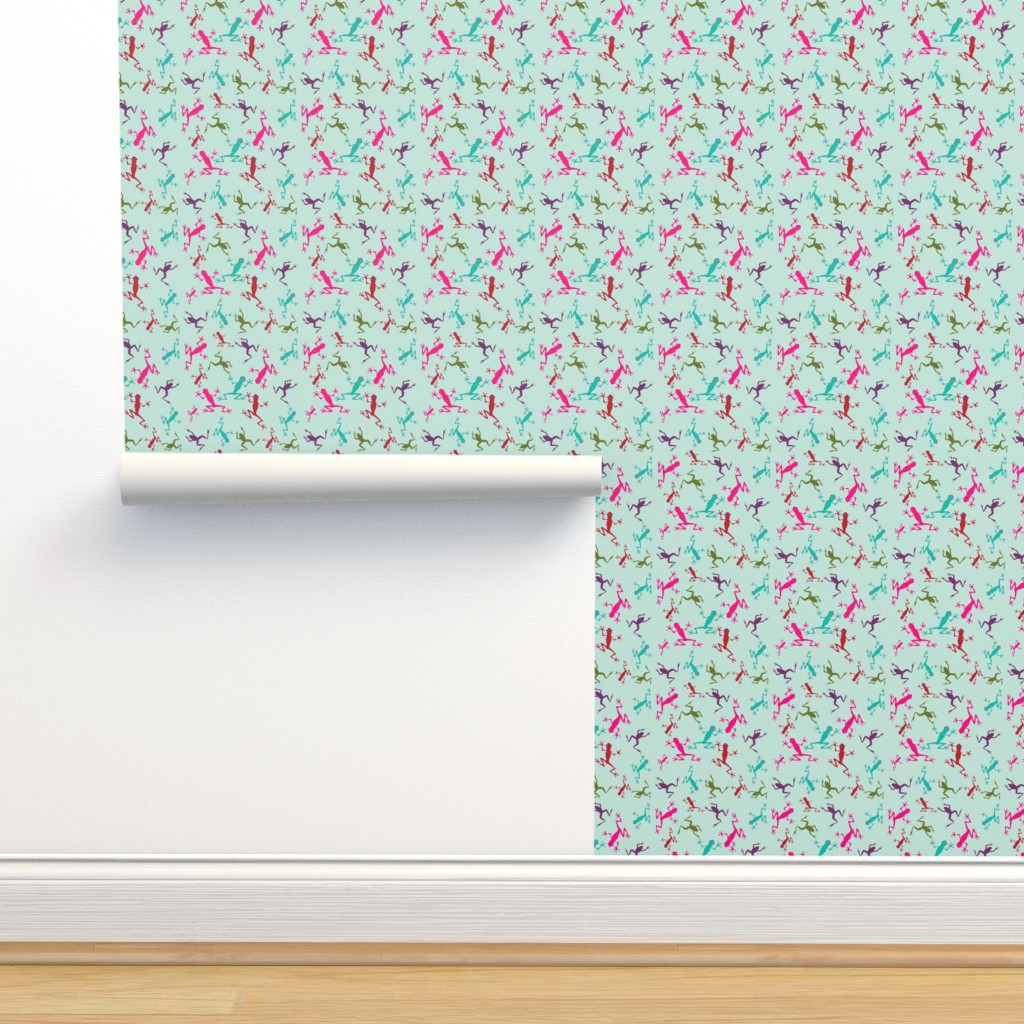 Isobar Durable Wallpaper featuring Frogs on Sea Green by rima