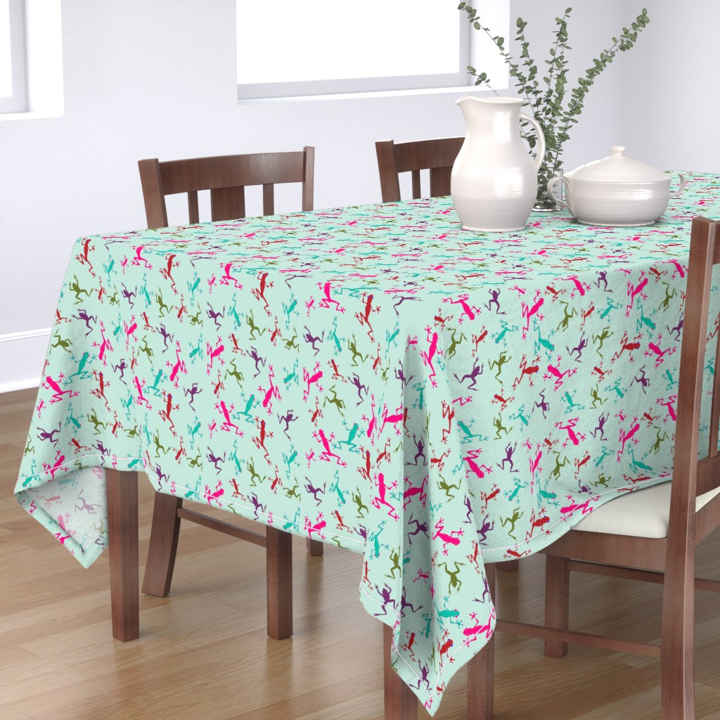 Bantam Rectangular Tablecloth featuring Frogs on Sea Green by rima