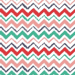 Wild and Free colorful chevron with texture in pink, teal, navy and pink