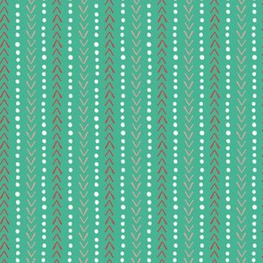 Wild and Free teal and pink Herringbone and dot stripe