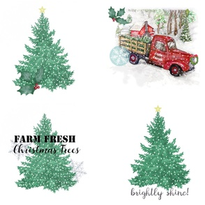 Christmas Tree Farm Truck Pillows