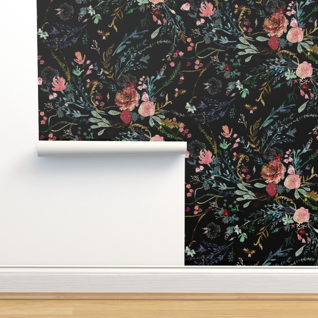 Isobar Durable Wallpaper featuring Fable Floral (black) JUMBO by nouveau_bohemian