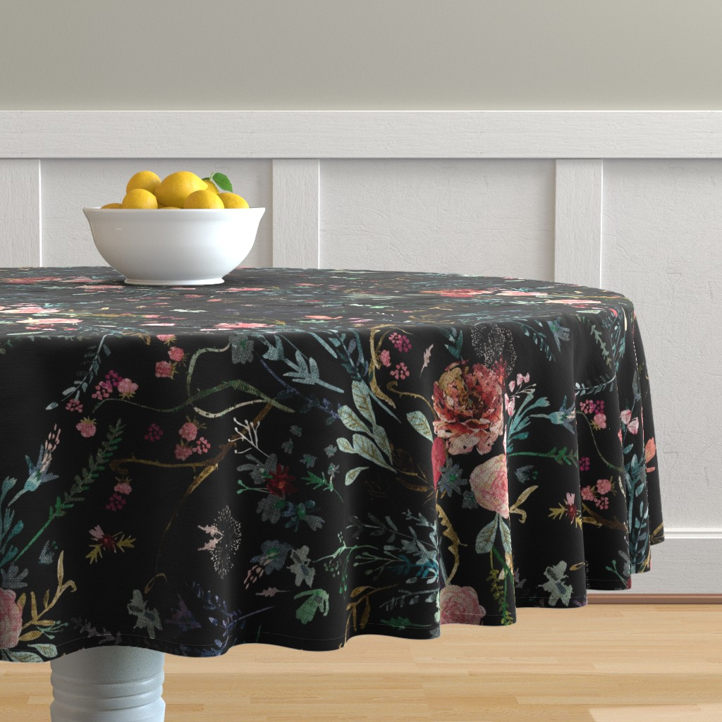 Malay Round Tablecloth featuring Fable Floral (black) JUMBO by nouveau_bohemian