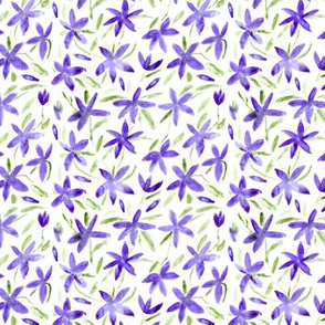 Pretty little purple flowers || watercolor floral pattern