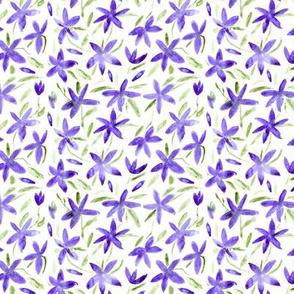 Pretty little purple flowers    watercolor floral pattern