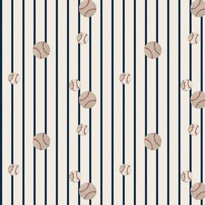 baseball toss  stripes 979 - navy on cream