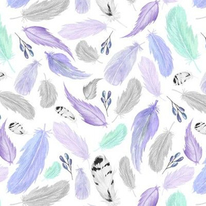 Feathers in Purple Lavender Grey Mint - Coordinate for Omaha Dream Catcher Collection Baby Girls Nursery GingerLous