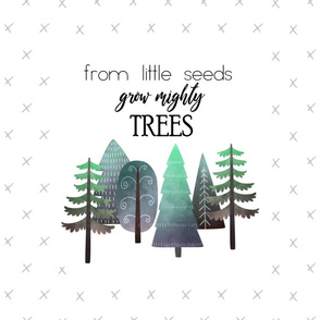 """18X27"""" GRAY & BLUE From Little Seed Grow Mighty Trees - MINKY SIZE"""