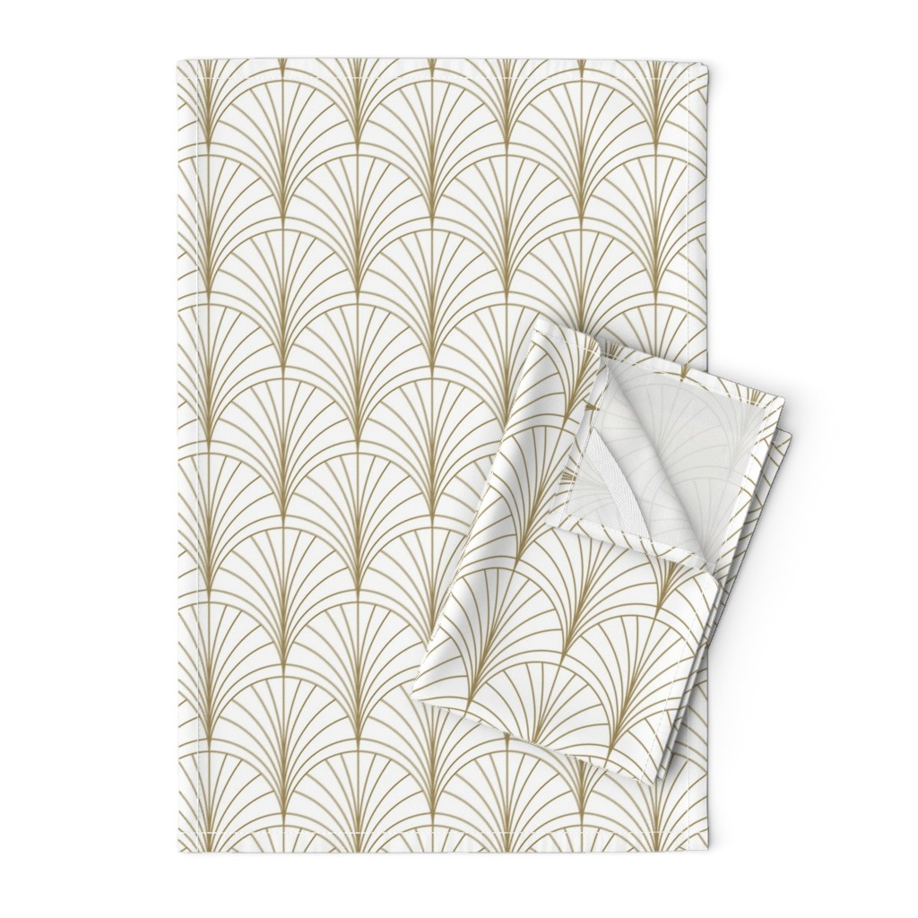 Orpington Tea Towels featuring Floral Burst Gold on White by anvil_studio