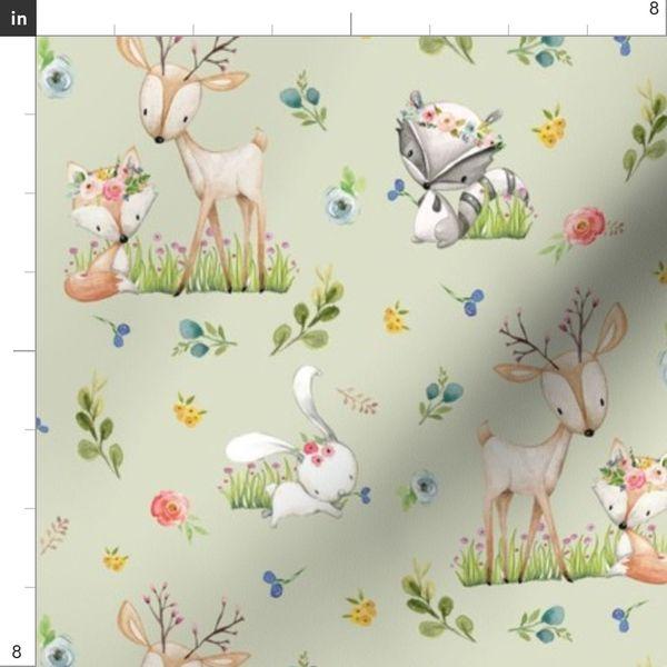 Fabric By The Yard Woodland Friends Soft Green Deer Fox Rac Bunny Flowers Baby Nursery Blanket Sheets Bedding