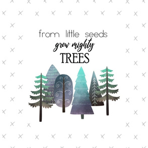 """18X21"""" NAVY & MINT From Little Seed Grow Mighty Trees - Pillow Panel - KONA SIZE"""