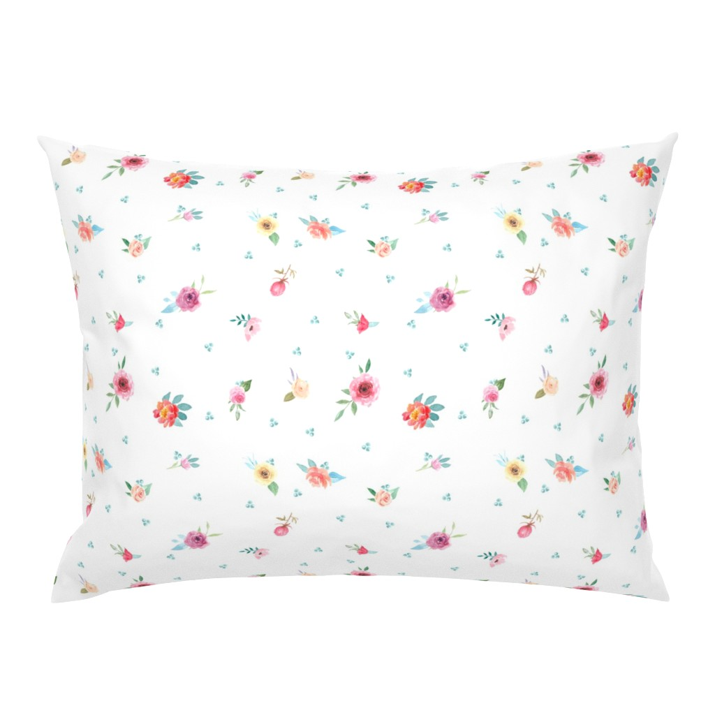 Campine Pillow Sham featuring French Country Flowers and Mint Dots by grafixmom