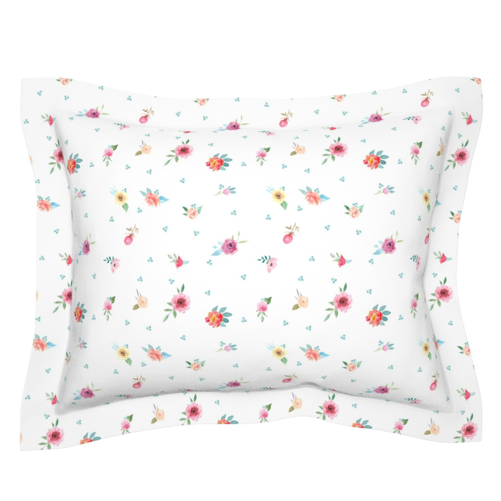 Sebright Pillow Sham featuring French Country Flowers and Mint Dots by grafixmom