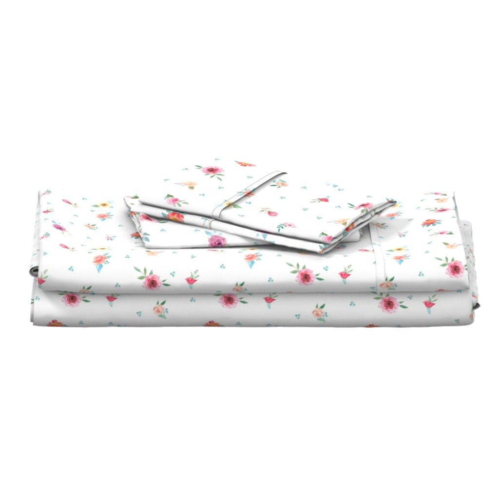 Langshan Full Bed Set featuring French Country Flowers and Mint Dots by grafixmom