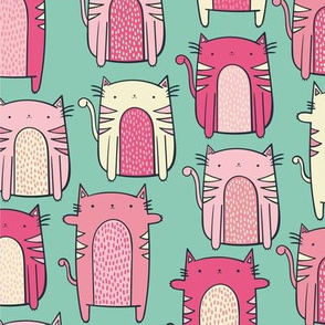 Pink Cats on Teal