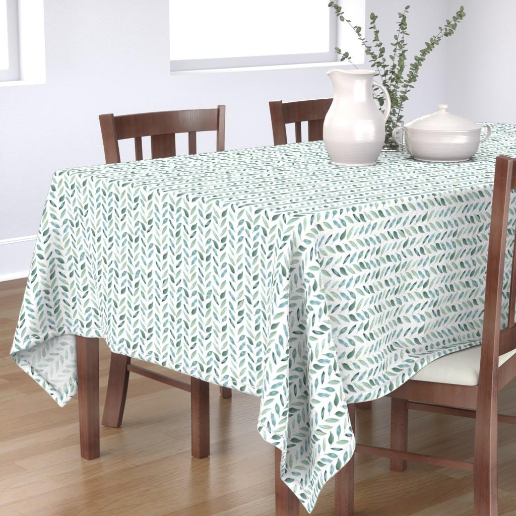 Bantam Rectangular Tablecloth featuring Medium Leaf Herringbone by taylor_bates_creative