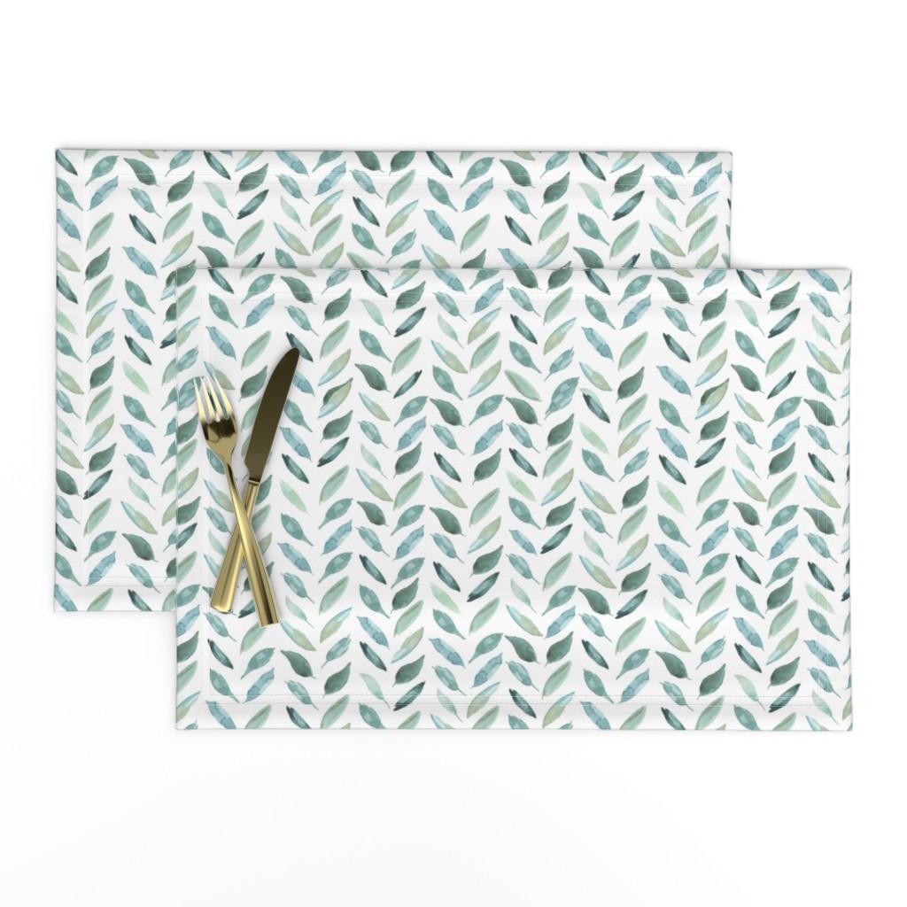 Lamona Cloth Placemats featuring Medium Leaf Herringbone by taylor_bates_creative