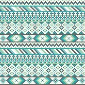 Blue / Green Tribal Geometric Aztec Rows