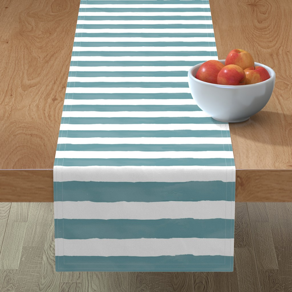 Minorca Table Runner featuring Nautical Watercolor Stripes by taylor_bates_creative