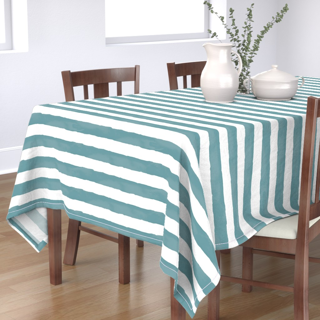 Bantam Rectangular Tablecloth featuring Nautical Watercolor Stripes by taylor_bates_creative