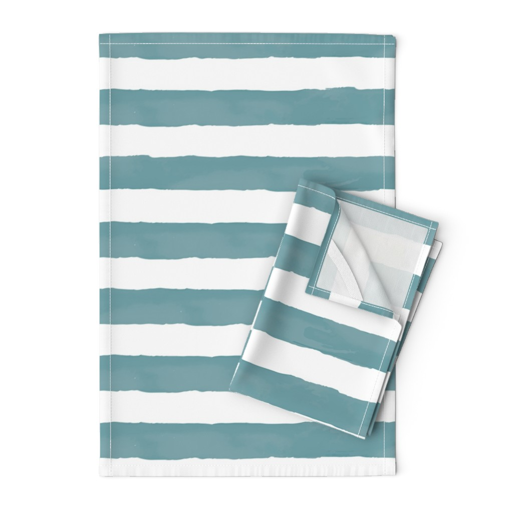 Orpington Tea Towels featuring Nautical Watercolor Stripes by taylor_bates_creative