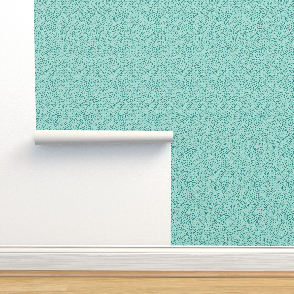 Isobar Durable Wallpaper featuring Pebbles - Mint with Teal by hettiejoan
